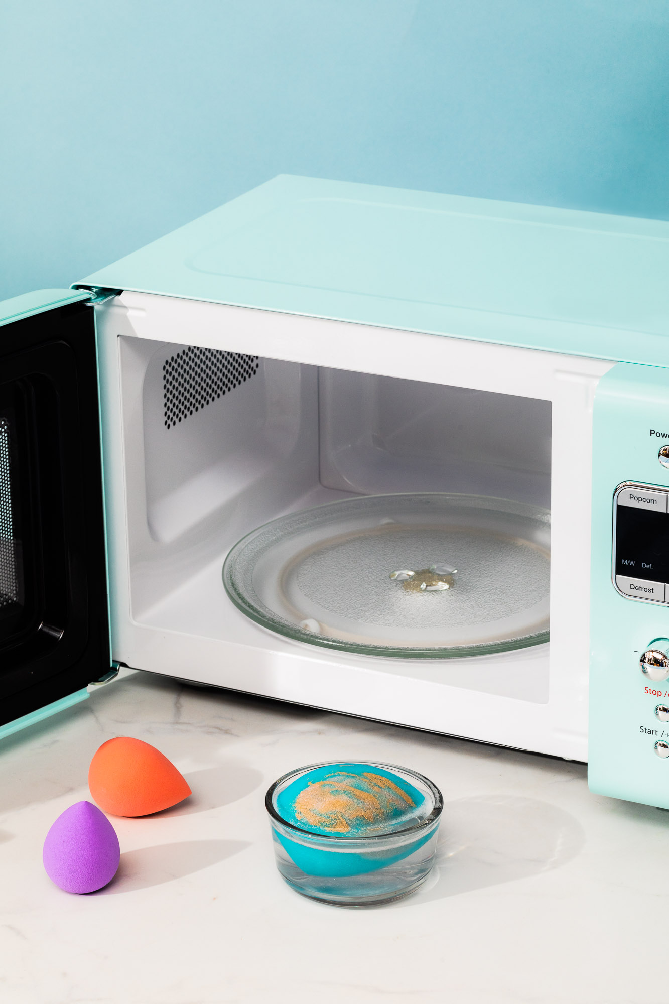 microwave hack for cleaning beauty blender